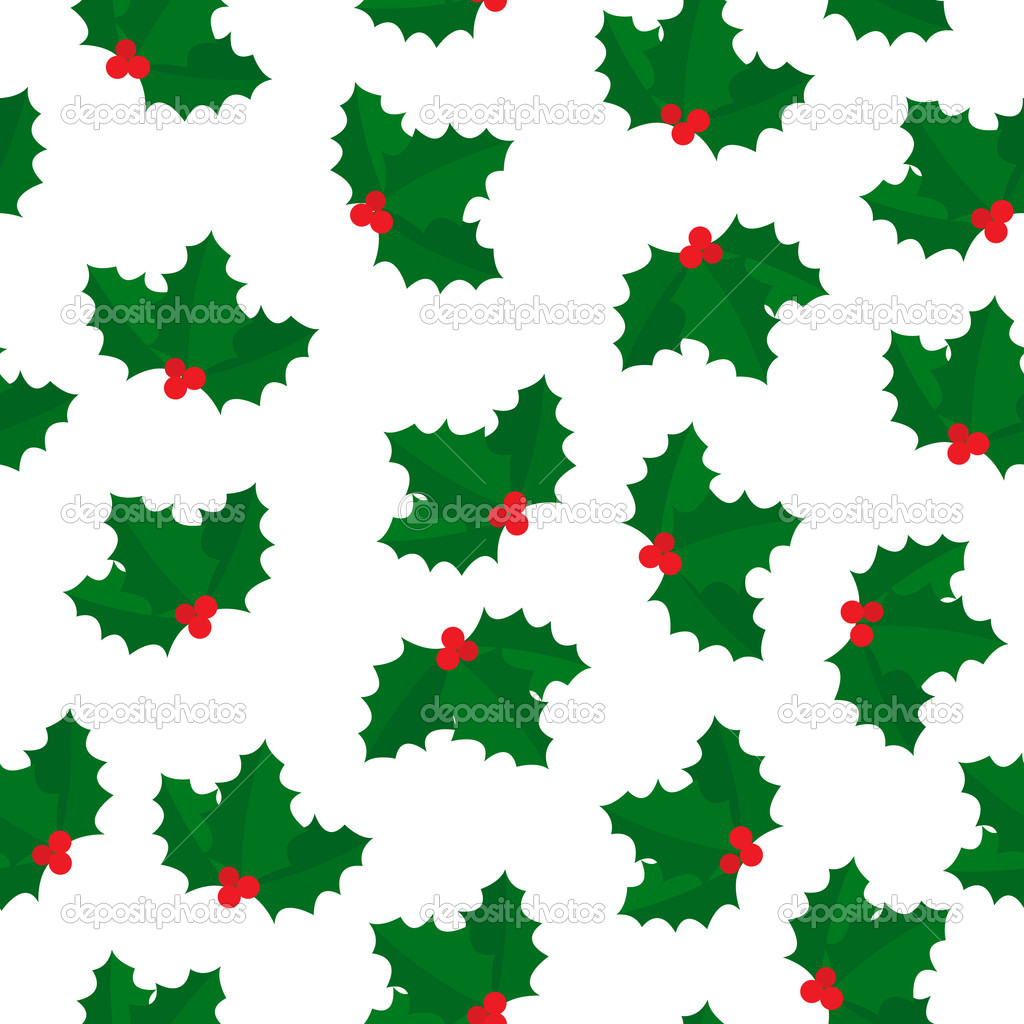Holly berry seamless pattern  Stock Photo #7601667