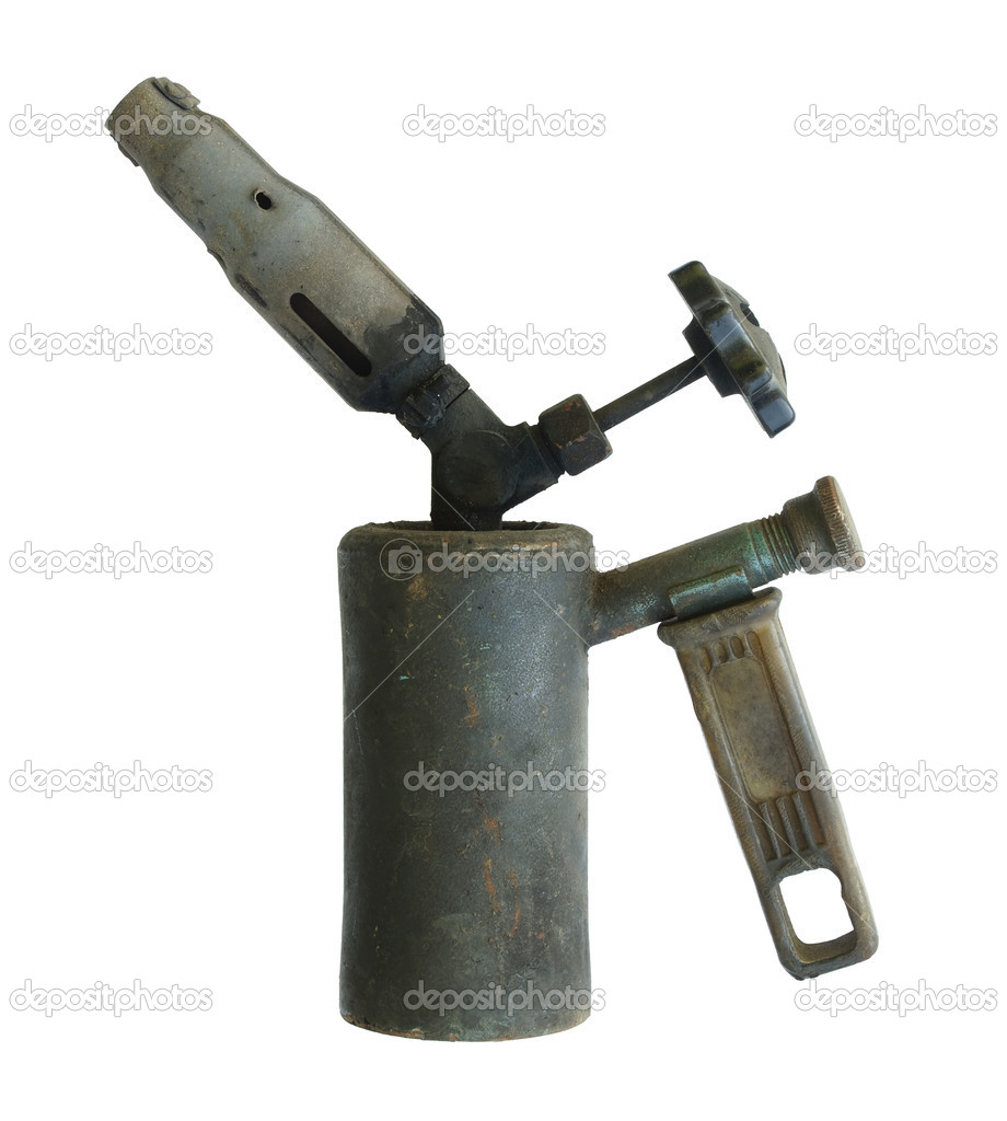 Old blowtorch on a white background.         — Stock Photo #6932651
