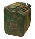 Three old rusty gasoline jerry can isolated on white background — Stock Photo