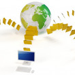 3d global file transfer concept — Stock Photo