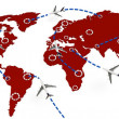 3d global flight routes concept — Stock Photo #7525258