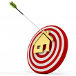 3d red target with house and arrow — Stock Photo