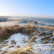 Icy cold snow covered links golf course and sea — Stock Photo