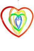 六个多彩色的心形状挂 — 图库照片