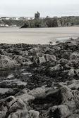 Castle ruin and rocky beach — Stock Photo