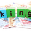 King in toy play block letters — Stock Photo