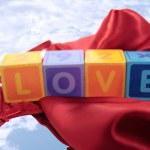 Blurred love on red nightie — Stock Photo