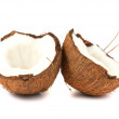 Two halves of coconut on white background — Stock Photo