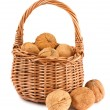 Wicker basket with walnuts - Stock Photo