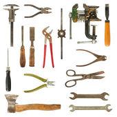 Oude inzameling van de gebruikte hulpmiddelen — Stockfoto