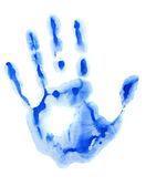 Mavi el baskı — Stok fotoğraf