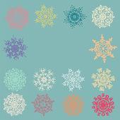 Cute Retro Snowflakes. EPS 8 — Stock Vector
