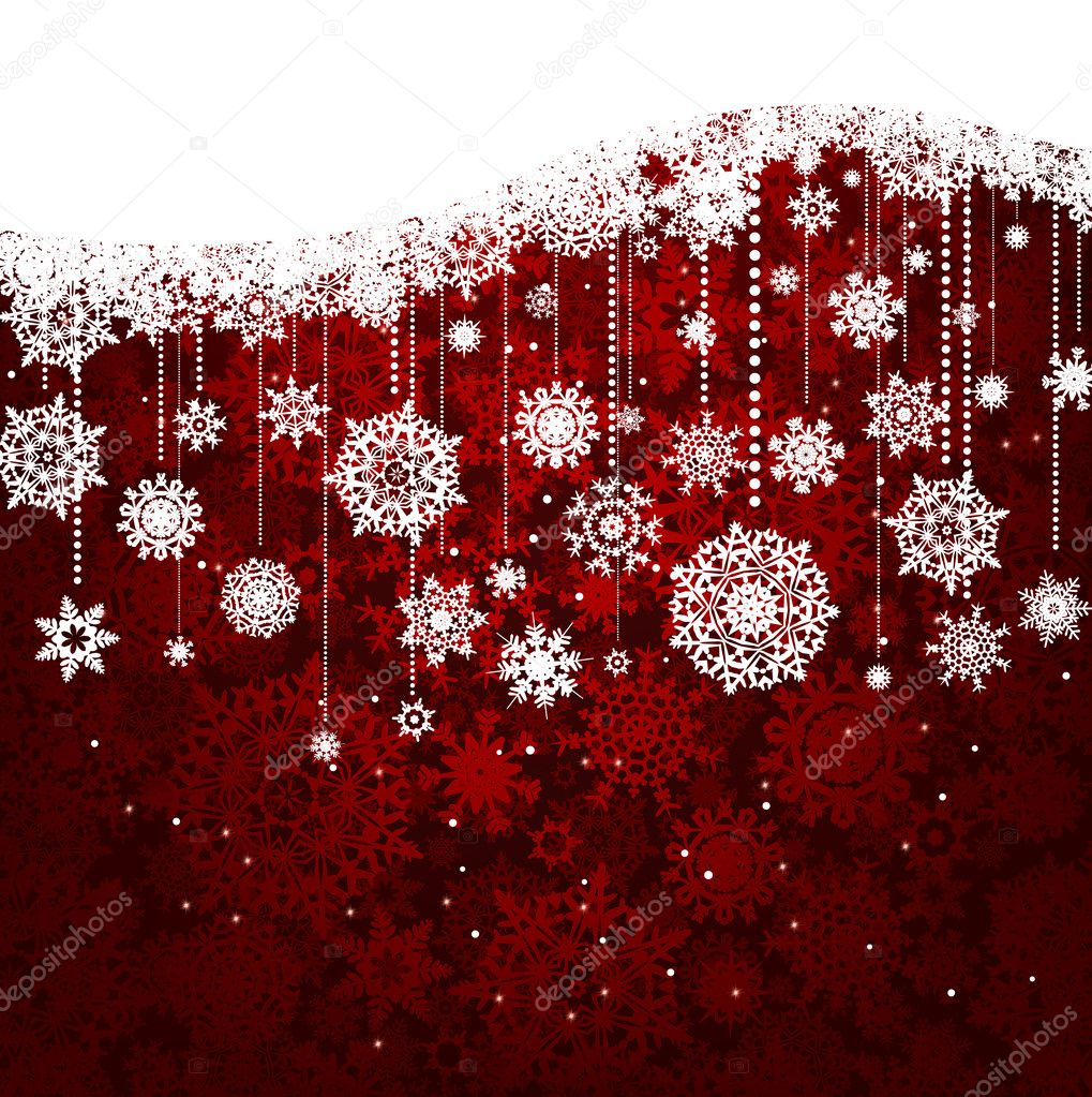 Red card with christmas snowflakes. EPS 8 vector file included — Stock Vector #7171763