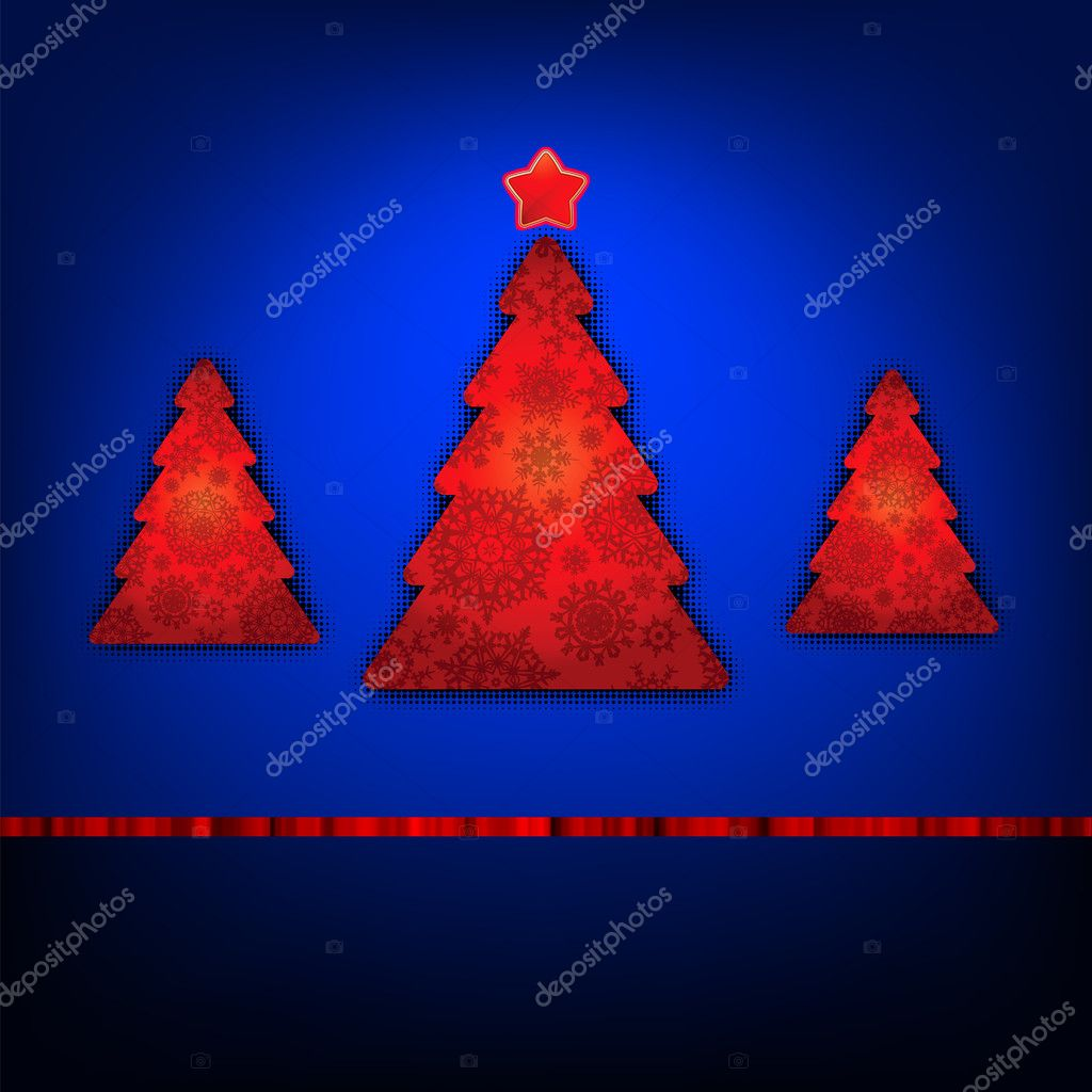 Christmas trees card template. EPS 8 vector file included  Stock Vector #7507475