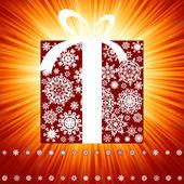 Rode uitbarsting met doos van de gift. eps 8 — Stockvector