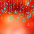 Hanging Christmas Baubles Against red. EPS 8 - Imagen vectorial