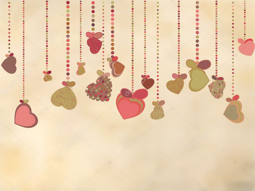 Vintage card with valentines hearts. EPS 8 vector file included  Stock Vector #7812594