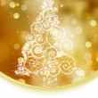 Christmas tree illustration on gold bokeh background. EPS 8 vector file included - Stock Vector
