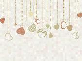 かわいい心を持つヴィンテージ バレンタイン カード。eps 8 — ストックベクタ