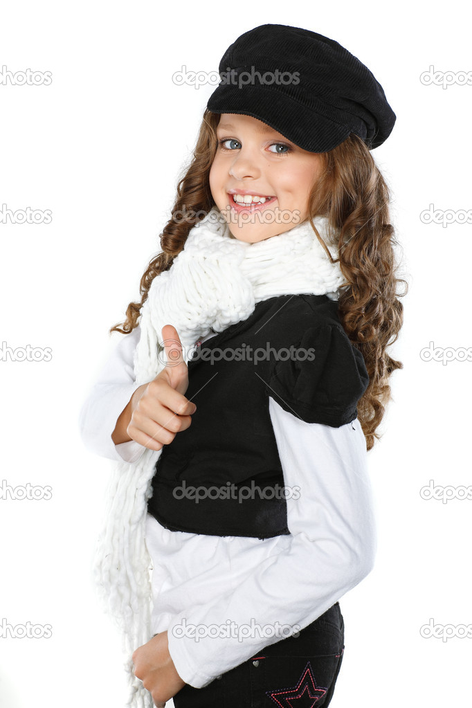 A little beautiful girl is in autumn clothes, isolated on a white background — Stock Photo #6823445