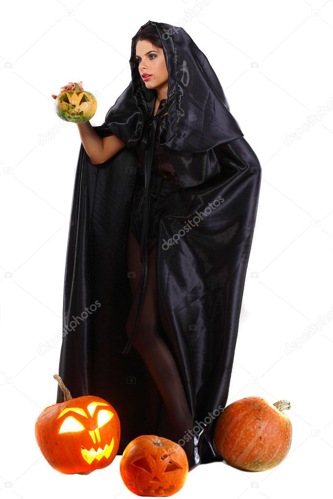 Sexual brunette in the suit of witch in night of Halloween  Stock Photo #6947202