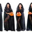 Sexual brunette in the suit of witch in night of Halloween — Stock Photo