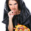 Sexual brunette in the suit of witch in night of Halloween — Stock Photo #7116732