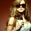 Beautiful girl with headphones - Stockfoto