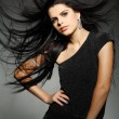 Elegant sexual woman in black clothes in fashion style — Stok fotoğraf