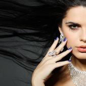 Zarif cinsel kadın moda style siyah giysili — Stok fotoğraf