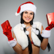 Beautiful and sexy woman wearing santa clause costume — ストック写真