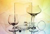 Две рюмки и две вазы — Стоковое фото