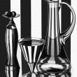 Vase with small glass balls, jug and wineglass — Stockfoto
