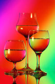 Three wineglasses with water — Stock Photo