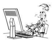 ベクトル面白い黒のコンピューター — ストックベクタ