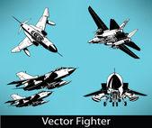 Vector Fighter Set — Stock Vector