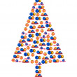 Stock Photo: Christmas tree made of Christmas decorations isolated on white background