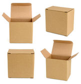 Collection of cardboard boxes isolated on white background — Stok fotoğraf