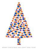 Christmas tree made of Christmas decorations isolated on white background — Stock Photo