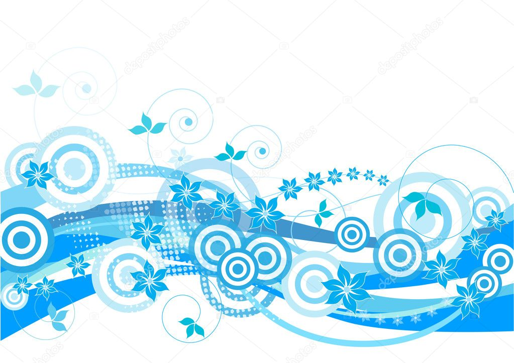 Blue, floral design with circles and flowers on white background — Stock Photo #6868355