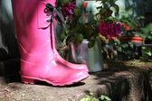 Pink wellingtons in the garden — Stock Photo