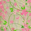 Delicate, natural beige background with pink lowers — 图库照片