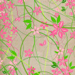 Delicate, natural beige background with pink lowers — ストック写真