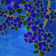 Fantasy blue cherry blossom drawing on blue — Stockfoto #7240071