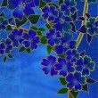 Fantasy blue cherry blossom drawing on blue — Zdjęcie stockowe #7240071