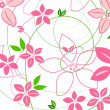 Pink flowers and swirls on white - Stock Photo
