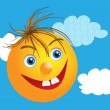Funny face with happy smile and clouds - Stock Photo
