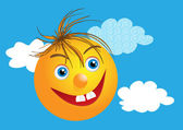 Funny face with happy smile and clouds — Stock Photo