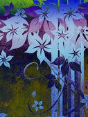 Schöne grunge hintergrund mit blauen blumen — Stockfoto