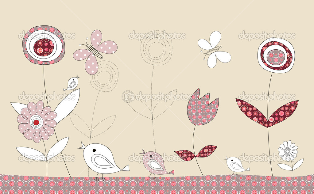 Pretty birds patchwork story on beige background, illustration — Stock Photo #7851457